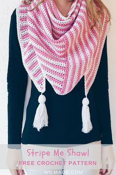 Stripe Me Shawl - a free crochet pattern on wilmade.com. Including a video tutorial. This triangle crochet shawl is made with Lion Brand Feels Like #Butta yarn. #lionbrand #crochet #shawl #triangle #pattern #stripes