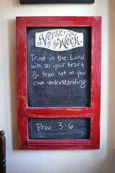 Red Verse of the Week Chalkboard vintage cabinet frame  by kijsa