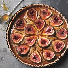 In this fig frangipane tart, honey is used both to flavour the almond base and as a glaze. Fresh or dried figs work equally well in this tart and sometimes I use both together, especially when fresh figs are expensive. My favourite honey for this dish is Fig Recipes, Honey Recipes, Tart Recipes, Sweet Recipes, Dried Figs, Fresh Figs, Fig Tart, Frangipane Tart, Afternoon Tea