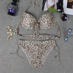 22.49$  Buy now - http://ali659.shopchina.info/go.php?t=32699357408 - 2016 new sexy Women Halter push up swimwear floral Swimsuit Bikinis de las mujers verano brasileiros maillot de bain femme sport  #aliexpresschina