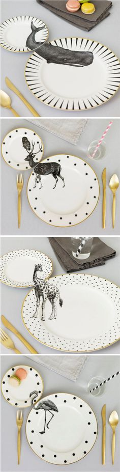 Yvonne Ellen gives forgotten vintage housewares a new lease on life by applying animal illustrations across matching dinner and side plates.