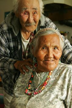 A beautiful portrait of Inuit Elders, from Kwethluk, Alaska. We Are The World, People Around The World, Growing Old Together, Old Faces, Old Couples, Never Grow Old, Beauty Around The World, Native American Indians, Native Americans