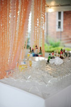 bar with streamers - I like this for behind the bar and gift table - creating spaces Coral Wedding Themes, Orange Wedding, Wedding Decorations, Perfect Peach, Wedding Inspiration, Wedding Ideas, Wedding Stuff, Watercolor Wedding, Streamers