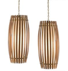 Jean Gillon; Rosewood, brass and Glass Ceiling Lights, 1960s.