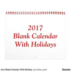 2017 Blank Calendar With Holidays And Red Wire