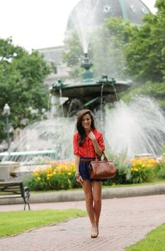 Classy Girls Wear Pearls: Kennedy Plaza {Shirt is double picketed, looks like a more casual material; dressed up with lace shorts}