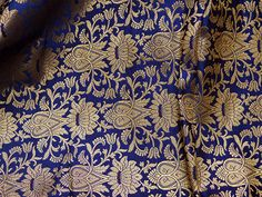 Navy Blue Brocade Fabric for Wedding Dress lehenga Banaras