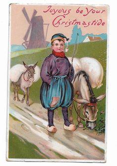 Antique Christmas Postcard Dutch Boy Smoking a Pipe + Donkeys Posted 1909 347C