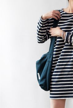 Death by Elocution : Casual, stripes dress, simple street look Death By Elocution, Looks Style, Style Me, Mode Outfits, Fashion Outfits, Fashion Clothes, Style Fashion, Marine Look, Mode Chic