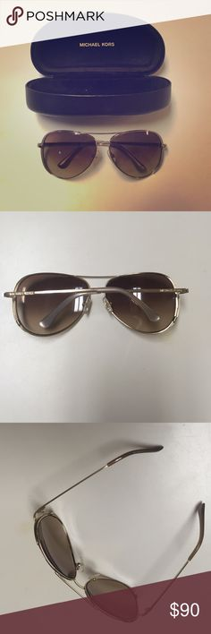 Michael Kors Sicily Gold Tone Aviator Sunglasses Michael Kors Aviator Sunglasses, gold and taupe trim, like new condition Michael Kors Accessories Sunglasses