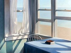 Jim Holland is an American artist of quiet gentle paintings which have been compared to the work of Edward Hopper Edward Hopper, Magritte, Through The Window, Windows, American Artists, Artist At Work, Painting & Drawing, Holland, Modern Art