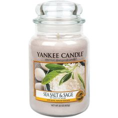 Yankee Candle Large Jar Candle &Ndash; Sea Salt And Sage ($27) ❤ liked on Polyvore featuring home, home decor, candles & candleholders, yankee candle candles and yankee candle