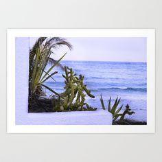 Window & Cactus & Sea Art Print by Yarapoctli - $14.60