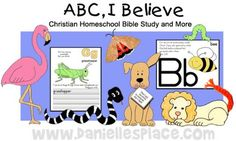 Amazing curriculum!  An entire lesson plan incorporating all areas of study (math, science, reading, writing, physical ed, crafts, etc) A themetic unit based on each letter of the alphabet & with a Bible lesson. Also check out her Bible Crafts & VBS page.