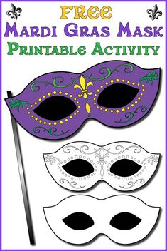 FREE Printable Mardi Gras Mask Template!