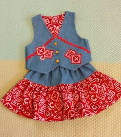 Awesome Etsy listing at https://www.etsy.com/listing/206099888/cowgirl-vest-and-skirt-denim-with-red