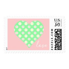 Pink and Green Daisy Heart Love Postage - valentines day gifts love couple diy personalize for her for him girlfriend boyfriend