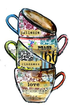 "mixed media tea cups- like this idea. Would use different colors.Maybe add ""may your cup runneth over"" or something like that."
