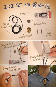 DIY Western Bolo Ties for ladies & gents!                                                                                                                                                                                 More