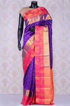 Navy blue & pink regal kanchipuram silk saree, shop now