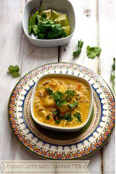 Kerala Style Potato Curry with Coconut Milk - Asiatische rezepte Curry Recipes, Veggie Recipes, Indian Food Recipes, Asian Recipes, Vegetarian Recipes, Dinner Recipes, Cooking Recipes, Ethnic Recipes, Kerala Recipes