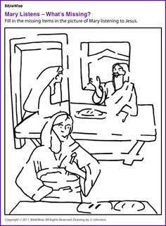 Martha mary luke 10 heores jesus without language for Mary and martha coloring page