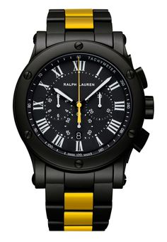 Ralph Lauren s Sporting Collection Black Ceramic chronograph watch has a  rubberized steel red racing stripe on the bracelet that is more Steve  McQueen than ... 63a1ea5e3ebea