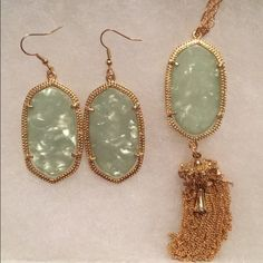 New sage iridescent bundle! Never worn still in package! Includes earrings and necklace Jewelry Necklaces
