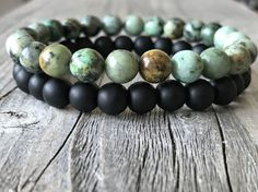 Men gemstone bracelet set  Stretch stacking door KennlyDesign