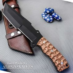 ALONZO KNIVES USA CUSTOM HANDMADE BUSHCRAFT TRACKER 1095 KNIFE PAKKA WOOD 1607 #AlonzoKnives