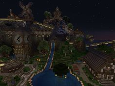 One view of the spawn town on Elysium Crafting (minecraft multiplayer server)