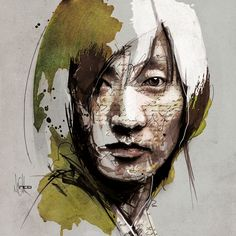 Mixed Media Portraits by Florian Nicolle watercolor portraits illustration Digital artist and illustrator Florian Nicolle (previously hereand here) blends layers of newsprint, watercolor, pencil, and digital painting to create rich, frenetic portraits that seem to fly off the canvas.