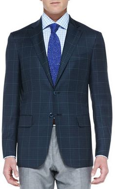 $2,595, Isaia Check Two Button Jacket Navygreen. Sold by Neiman Marcus. Click for more info: http://lookastic.com/men/shop_items/132956/redirect