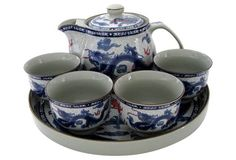 Dragon Set w/ Serving Tray, Svc for 4
