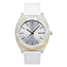 NIXON Women's A328-029 Plastic Analog White Dial Watch NIXON. $58.81. Case diameter: 40 mm. Water-resistant to 100 M (330 feet). Scratch resistant mineral. Plastic case. Quartz movement. A few drinks and long stares into your Nixon Women's Time Teller Acetate Leather Watch help you realize that we're all time travelers on a one-way street. If your flaky date had showed up, you'd have never had this obvious epiphany. And you never would've had time to admire this...