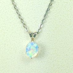 White Ethiopian Opal Necklace October by NorthCoastCottage on Etsy