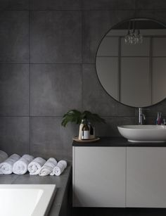 Black tiles to bathroom - large