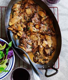 Veal escalopes with mushrooms and apples - Gourmet Traveller