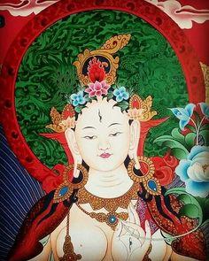 White Tara - the beautiful female Buddha with seven eyes. Traditional Buddhist thangka paintings (detail) Buddhist Wheel Of Life, Buddhist Art, Tibet, Buddhism Symbols, Nepal Art, Mandala, Thangka Painting, Green Tara, Reiki