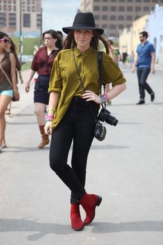 silky olive button-up & red ankle boots. topped off with the cowgirl hat.