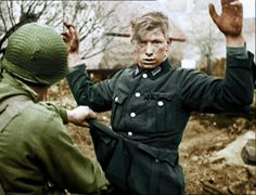 US troops search captured German army soldier. Shocked and aware his war is now over. Casualties Of War, Prisoners Of War, German Soldiers Ww2, German Army, Ww2 Photos, History Photos, World History, World War Ii, Germany Ww2