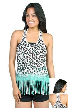 ombre cheetah print racerback tank top with fringe bottom