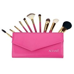 ACEVIVI 10 Pcs Natural Makeup Cosmetics Brush Set with Synthetic Leather Case Black >>> Read more  at the image link.