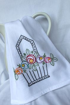 Hopebasket Tea Towel  Hand Embroidered by veryprettythings on Etsy