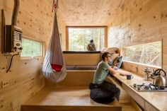 Harvard Students Offer Tiny Cabins in the Woods for Stressed-Out City Dwellers Tiny House Swoon, Tiny House Living, Tiny House Design, Living Room, Cabins In The Woods, House In The Woods, Harvard Students, Microhouse, Tiny Houses For Rent