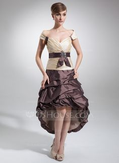 Homecoming Dresses - $129.99 - A-Line/Princess Off-the-Shoulder Asymmetrical Taffeta Homecoming Dress With Ruffle Sash Beading (022009147) http://jjshouse.com/A-Line-Princess-Off-The-Shoulder-Asymmetrical-Taffeta-Homecoming-Dress-With-Ruffle-Sash-Beading-022009147-g9147