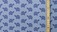 Blau bedruckter Schildkröten Baumwollstoff: Vicente - 160cm