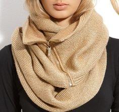 Metallic zipper infinity scarf by Michael Kors.