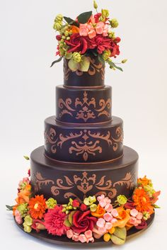 Harvest Showcase - fall themed wedding cak by Ron Ben-Israel | Satin Ice