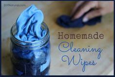 Homemade Wipes .... peroxide or vinegar mixed with a few drops of essential oils. Recipe here: http://www.diynatural.com/homemade-wipes/